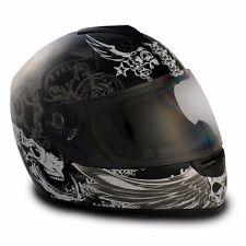 VCAN V136 FULL FACE GLOSS BLACK DARK ANGEL GRAPHICS MOTORCYCLE HELMET LARGE