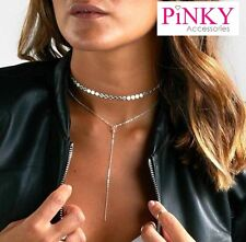 STUNNING LARIAT NECKLACE CHOKER CLEAVAGE SILVER TONE DISCS *UK SELLER