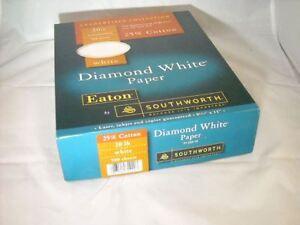 Eaton by Southworth Diamond White Paper 20lb 25/% Cotton 500 Sheet Paper
