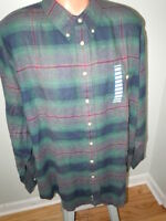 Trader Bay Mens 100% Cotton Plaid Flannel Shirt Long Sleeves Size 2xl Tall