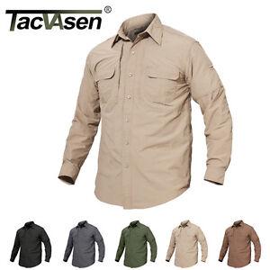 TACVASEN Mens Quick Dry Anti-UV Work Shirt Military Long Sleeve ... dbf021680a6