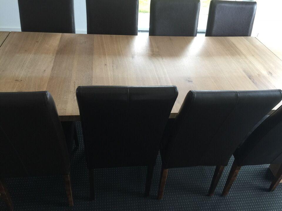 Spisebord m/stole, Egetræ massiv, b: 96 l: 230