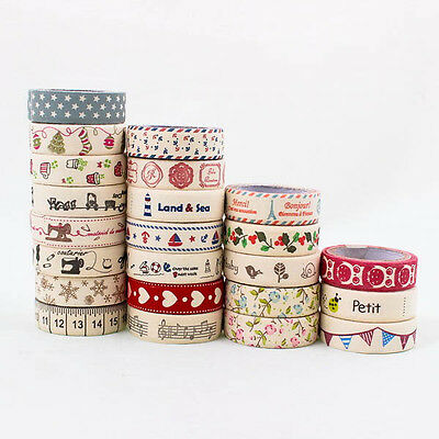 Cute Vintage Fabric Craft DIY Washi Tape 15mm Decorate Party Scrapbooking A0791