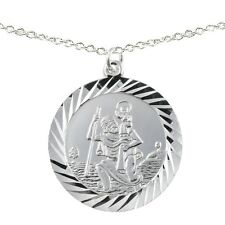 Mens Large Silver Reversible St Christopher Pendant and Chain Necklace Jewellery