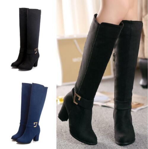 Womens Shoes Round Toe Zip Buckle Block Heel Knee High Boots Big Size 34-48 New