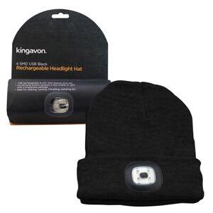 Kingavon Beanie Hat Built-in LED Headlight Head Light 3 Mode - USB RECHARGEABLE