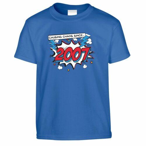 13th Birthday Kid/'s T Shirt Retro Causing Chaos Since 2007 Comic Super Hero
