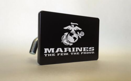 US MARINES Billet ALUMINUM Trailer Tow Hitch Cover SUV Truck RV BLACK