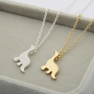 """Cute Dinosaur Necklace 0.6"""" Small Tiny Pendant Jewelry Gold Silver Tone Chain"""