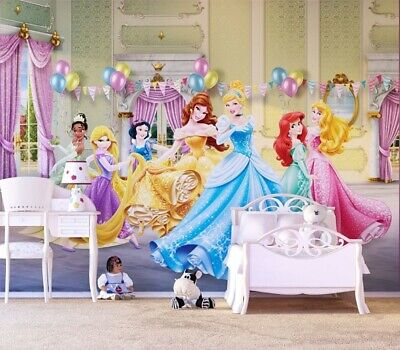 Hardwerkend Disney Wall Mural Wallpaper Children's Bedroom Princesses Ballroom Premium Green