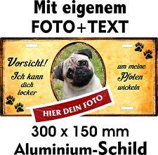 Hunde Schild eigenes Foto eigener Text Mops Pug Carlin Türschild Warnschild Fun