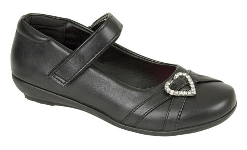 girls school shoes touch fastening one bar heart diamante trim hard wearing sole