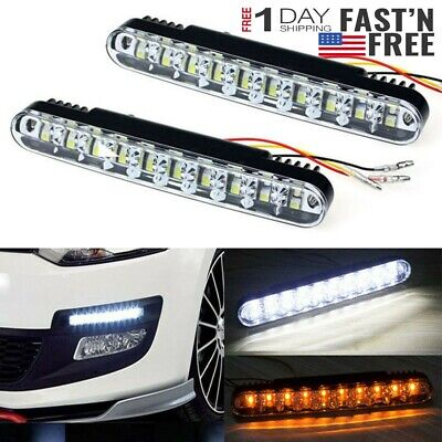 US 2Pcs 12 LED Turn Signal Lamp DRL Daytime Running Light Daylight Car Truck 12V