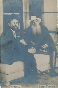 Leo-Tolstoy-and-Anton-Chekhov-Real-Photo-Postcard-Tolstoi-Russian-Writers-udb
