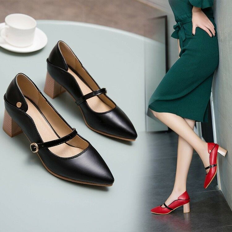 Women's Mary Janes shoes Block Mid Heels Pointed Toe Pumps Buckle Casual shoes