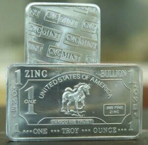 ZINC Horse 1 Oz .999 Fine Zinc Bullion Bar 1 Ounce (One Ounce)