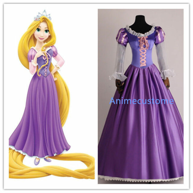 Halloween Tangled Fancy Costume Adults Rapunzel Dress Cosplay Outfit