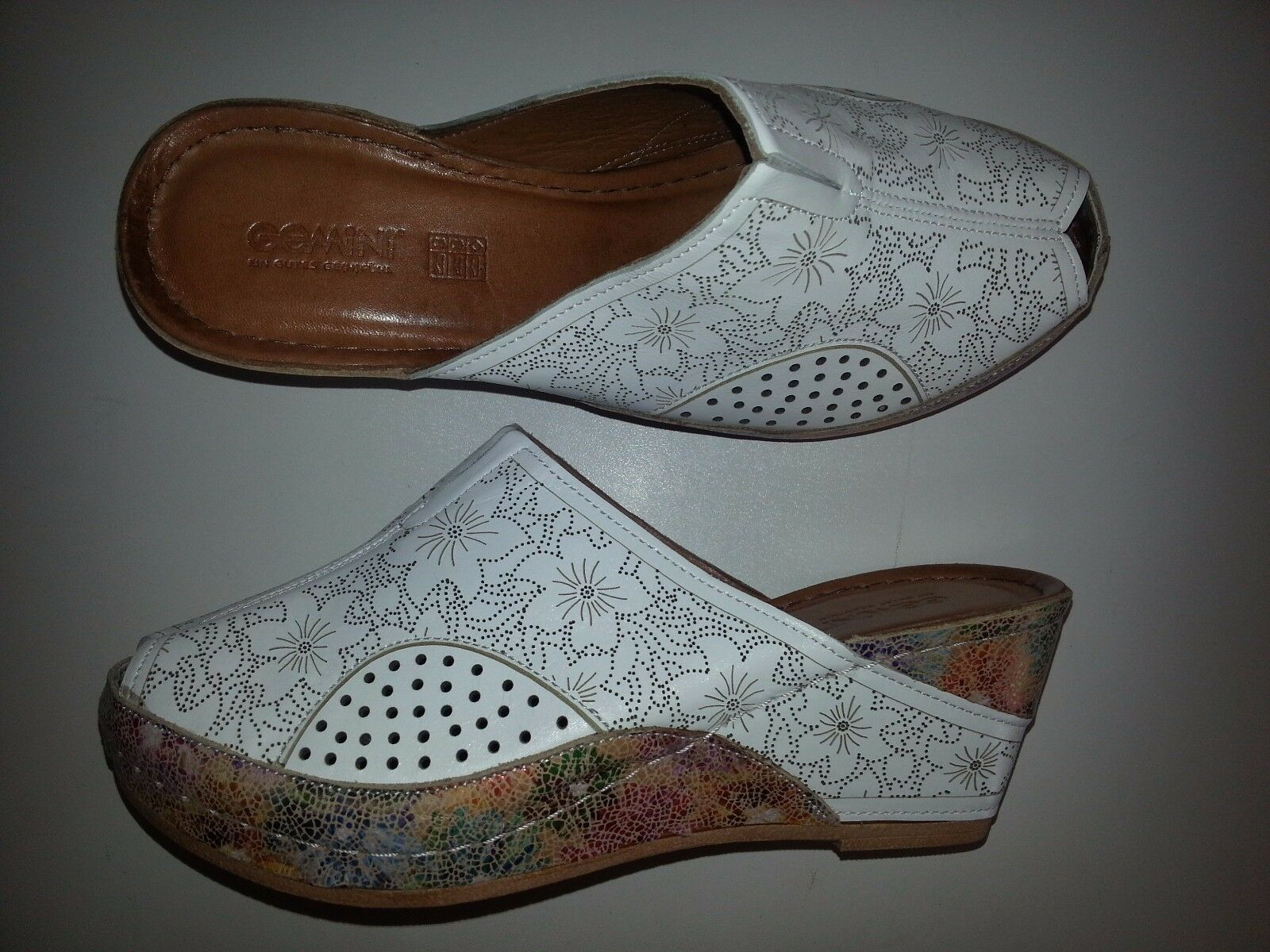 Gemini Damen Leder Clogs Pantolette mehrfarbig Größe 38-40-41-42 NEU
