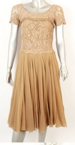 Vintage Howard Greer nude silk and lace dress. S/m