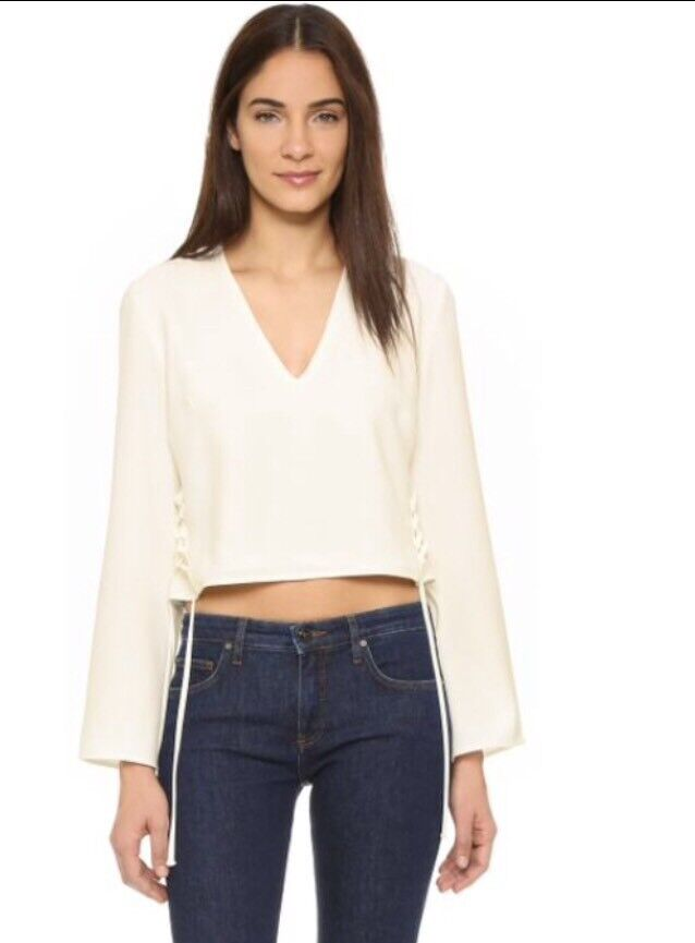 FINDERS KEEPERS Fly Away White Cropped Top XS  EUC