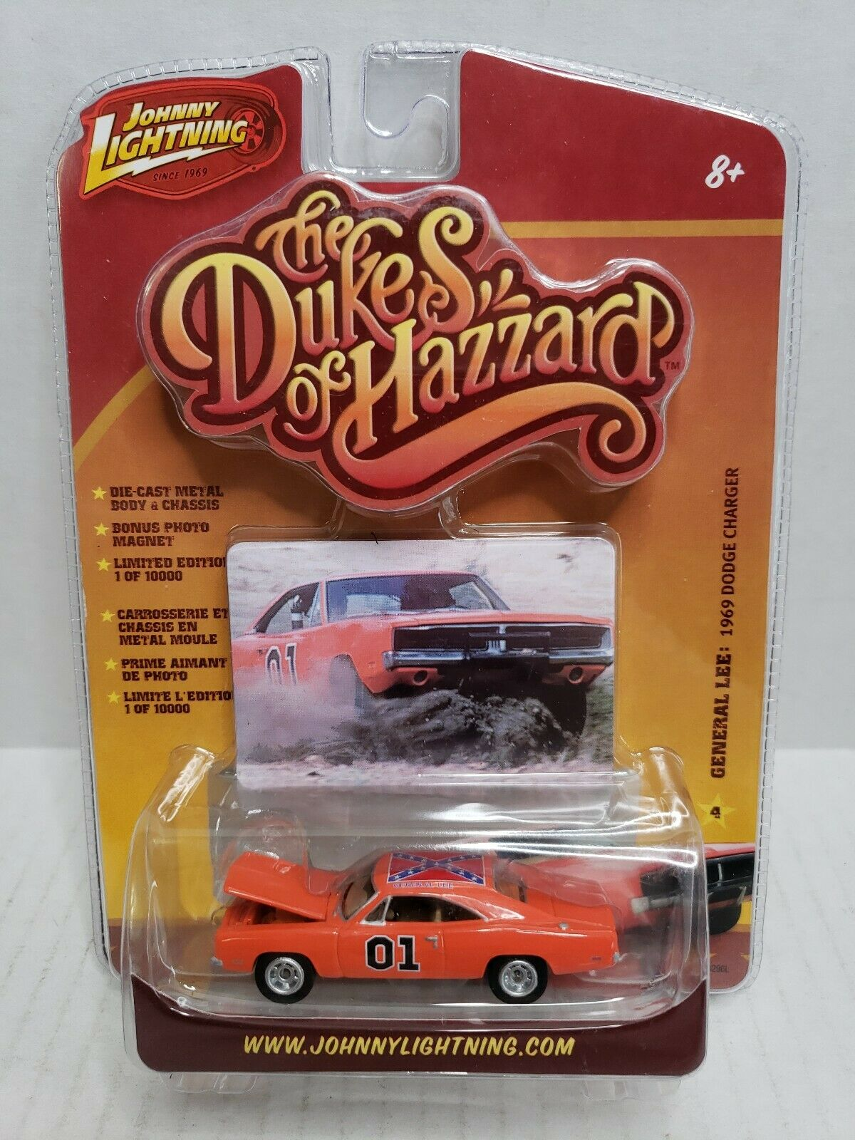 Rare Johnny Lightning The Dukes Of Hazzard General Lee 1969 Dodge Charger arancia