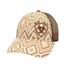 Ariat  Kids Hat Youth Girl Baseball Cap Aztec Mesh Snap Logo Brown 1519202