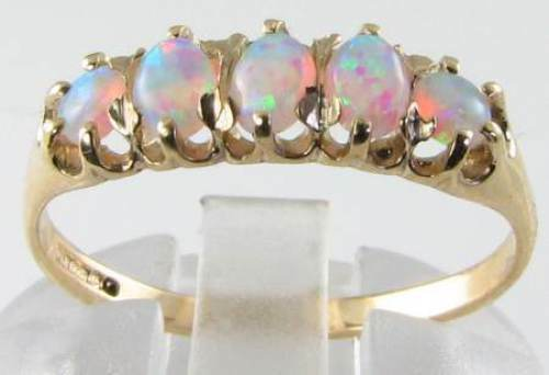LUSH 9K 9CT gold AAA AUS OPAL ETERNITY ART DEC INS FIVE STONE RING FREE RESIZE