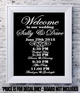 Custom Wedding Decal Welcome Program Personalized Vinyl Sign - Custom vinyl decals buffalo ny