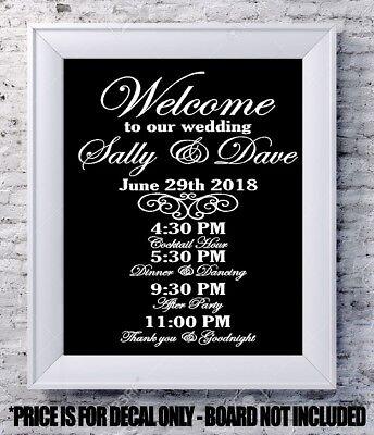 Custom wedding decal Welcome program personalized vinyl sign mirror chalk board