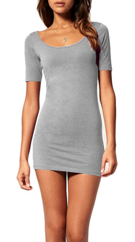Sommer Damen Kleid Kurzarm Shirt Bodycon Stretch Short Minikleid S//M 314