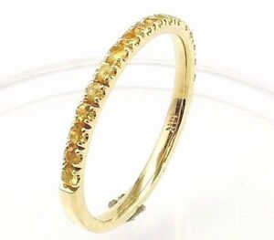 Half-Eternity-Yellow-Sapphire-Wedding-Band-amp-Stacking-Rings-Comfort-Fit-14K-Gold