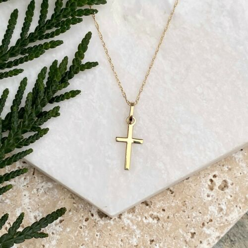 Details about  /Polished 14KT Yellow Gold Mini Cross Pendant Charm Chain Necklace NEW