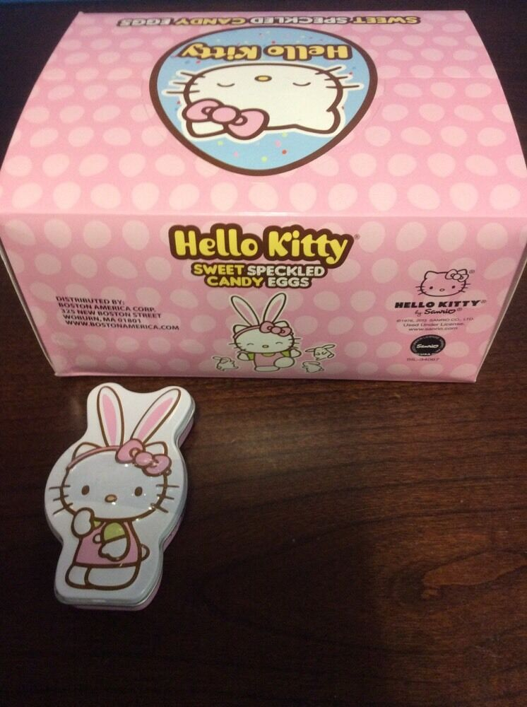 3ee792029 Hello Kitty Sweet Speckled Candy Eggs 1.2 Oz 34g Tin Bostonamericacandy.com  | eBay
