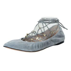 df67ba0cc5651 Details zu Valentino Garavani Damen Leder Nieten Flache Ballerinas Schuhe  Sz 7.5 9 9.5 10