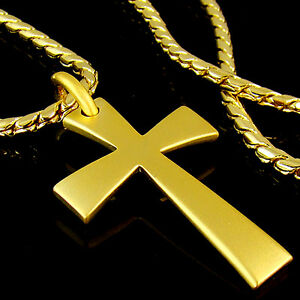 High quality 18k gold plated mens cross pendant chain necklace image is loading high quality 18k gold plated mens cross pendant aloadofball Images