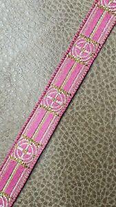 Vintage-Vestment-Sastreria-Galloon-Borde-Dorado-Cruz-en-Rosa-1-6cm-Ancho-9-Yrds
