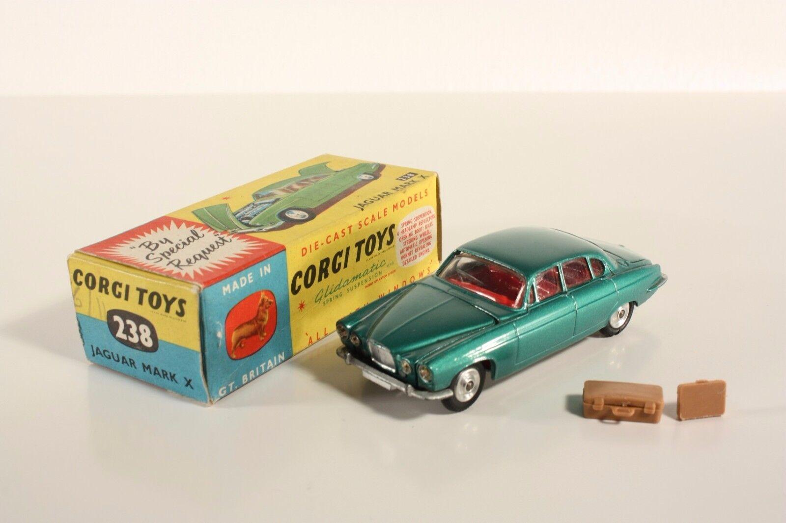 Corgi leksaker 238, Jaguar Mark X, grön, sällsynt, Mint i ask \35;ab2074