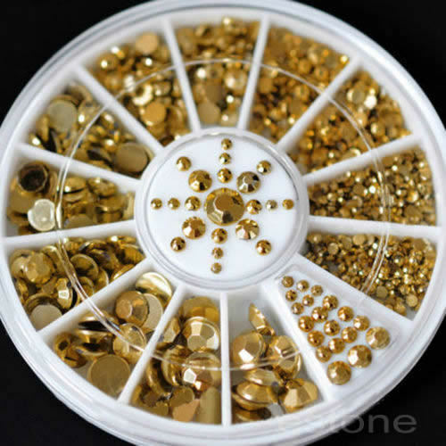 Wholesale Mixed Sizes Nail Art Decoration Diy 3D Acrylic Glitter Gold Beads