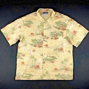 Columbia-Mens-Shirt-Camp-Hawaiian-Island-Short-Sleeve-Button-Down-Large