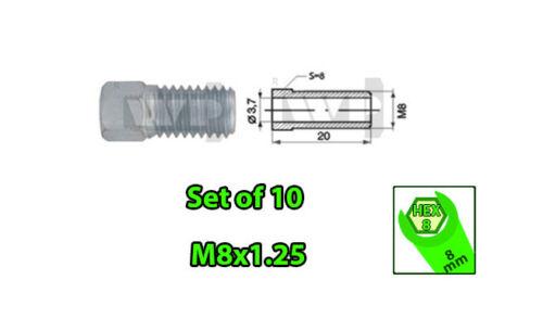 SET of 10 Male M8x1.25 HEX 8 Brake Line Pipe Nuts Galvanized Metric Ø 3.7mm