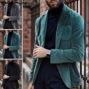Men-039-s-Velvet-Corduroy-Blazer-Jacket-Adults-Smart-Slim-Fit-Coat-Party-Stag-Jacket