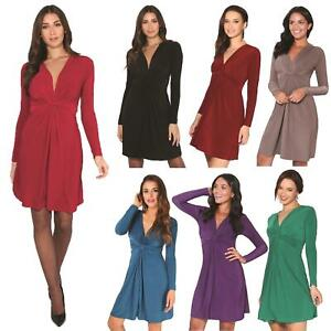 Womens-Ladies-V-Neck-Dress-Knee-Length-Mini-Ruched-Long-Sleeve-Pleated-Top