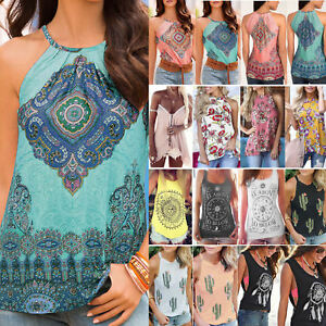 Womens-Boho-Summer-Vest-Shirt-Sleeveless-Blouse-Casual-Tank-Tops-T-Shirt-Cami-AU