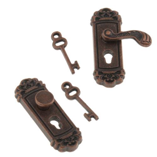 2pcs 1:12 Vintage Metal Door Hardware Knob Set Dollhouse Miniature Handle