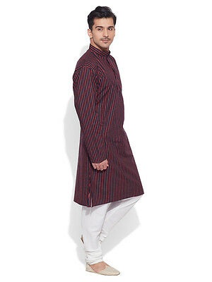 Very Me Men's Cotton Long Black Kurta (MCLK1004)