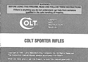 ORIGINAL COLT SPORTER RIFLES  MANUAL   1993