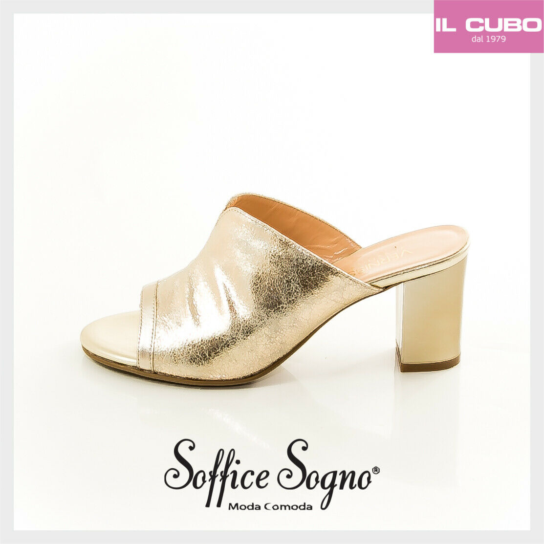 SANDALO SCALZATO femmes SOFFICE SOGNO TACCO H 7 CM CouleurE PLATINO MADE IN ITALY