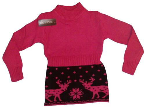 Girls Jumper Knitted Tunic Top Dress Sweater Cardigan 2 years Pink Blue Coral