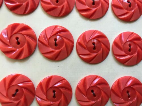 """24 Tangerine Color 2-Hole 7//8/"""" Wheel Buttons Made in France Vintage Buttons"""