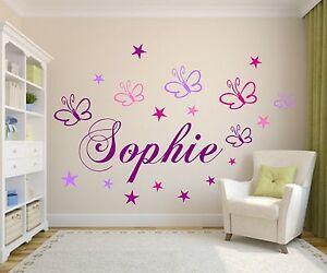 Wandtattoo Kinderzimmer Wunsch Namen Schmetterlingen Sternen Baby Madchen Jungen Ebay